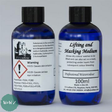 AJ Ludlow Watercolour Medium- Lifting and Masking medium 100ml blue plastic bottle