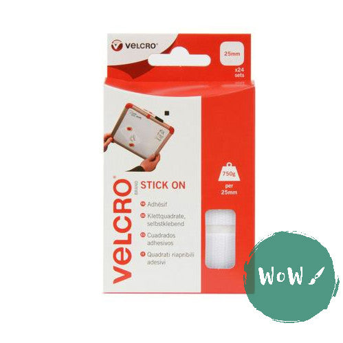 VELCRO® brand Stick on SQUARES 25MM WHITE Hook & Loop