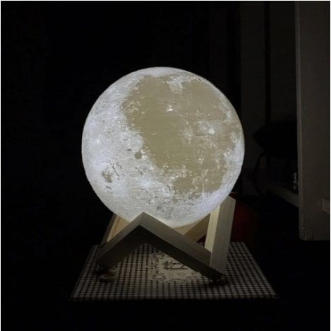 Touch Activated Dimmable Moon Lamp (3D Printed)