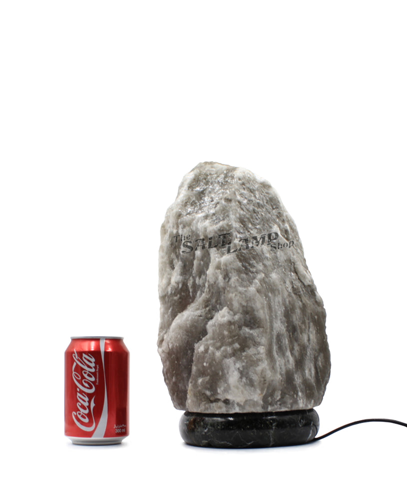 7-10kg Rare Grey Himalayan Salt Lamp (Black Zebra Marble Base)