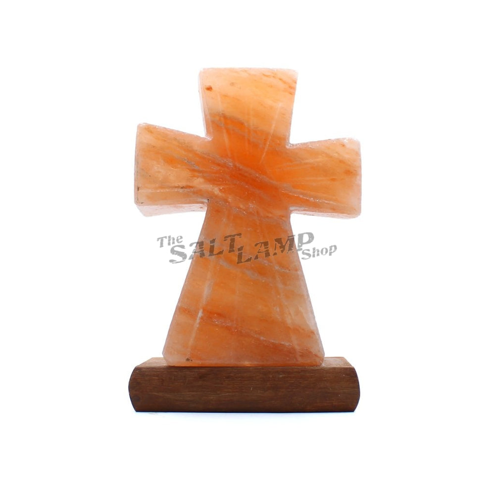 Cross Salt Lamp (Timber Base)