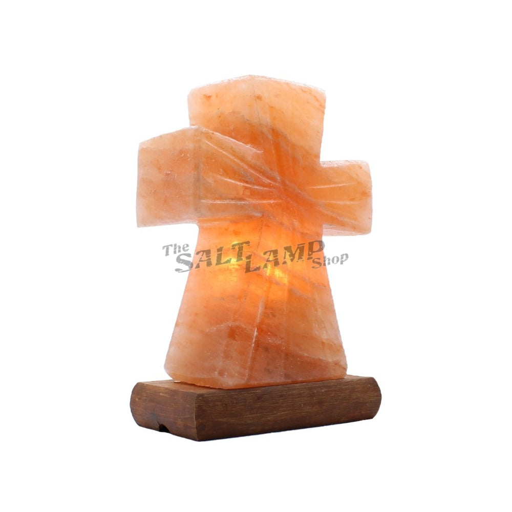 Cross Salt Lamp (Timber Base) Crafted