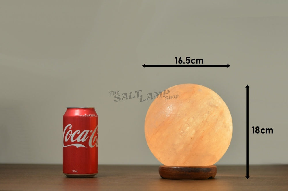 Sphere Ball Salt Lamp (Timber Base) Crafted