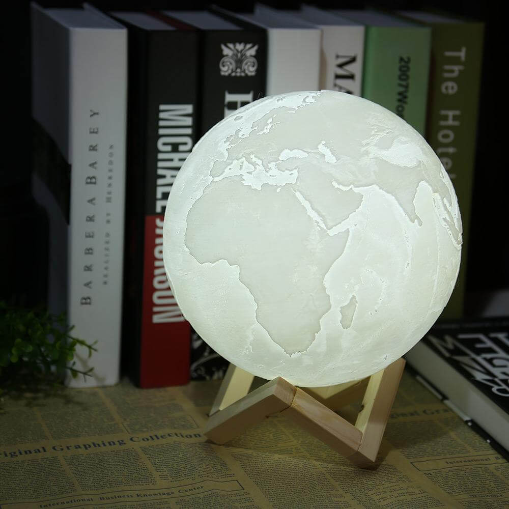 Touch Activated Dimmable Earth Lamp (3D Printed Biodegradable Plastic)