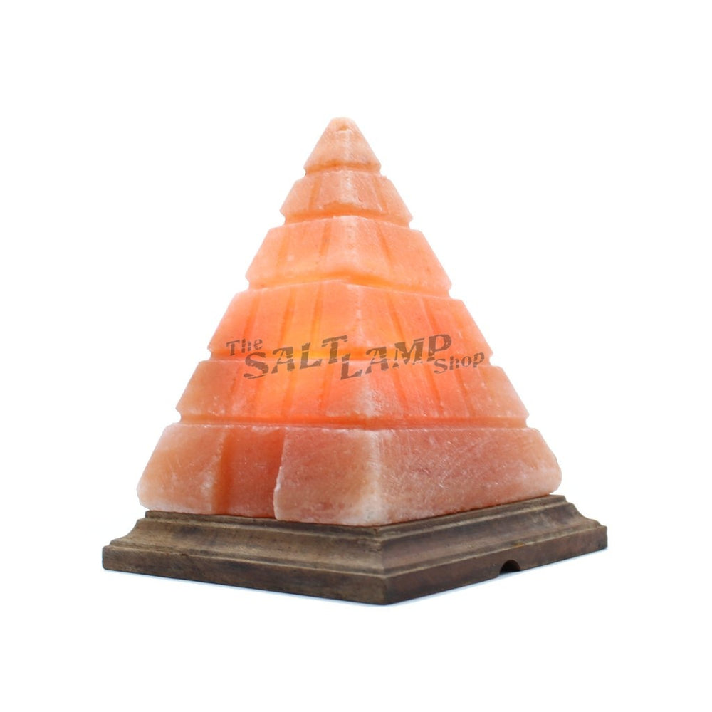 Special Crafted Giza Pyramid Salt Lamp (Timber Base)