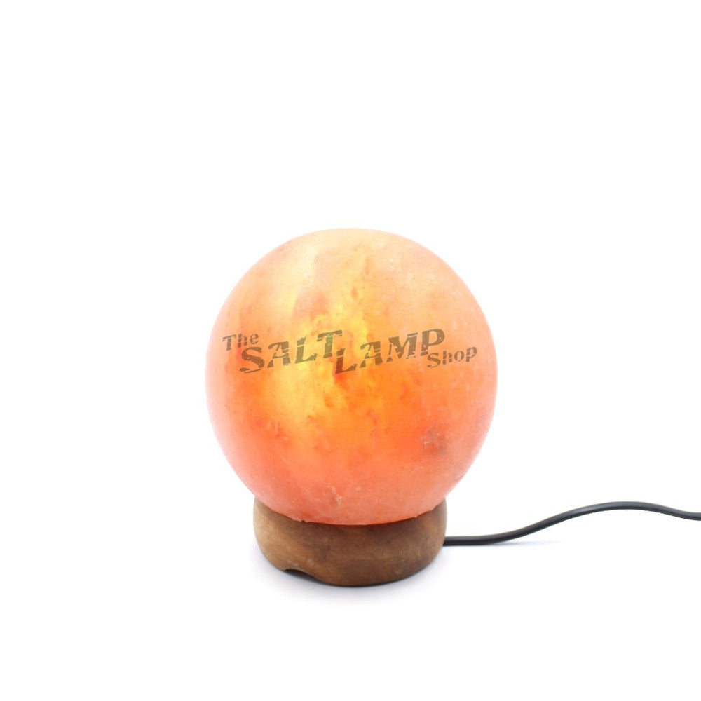Small Sphere Salt Lamp (Timber Base) Crafted
