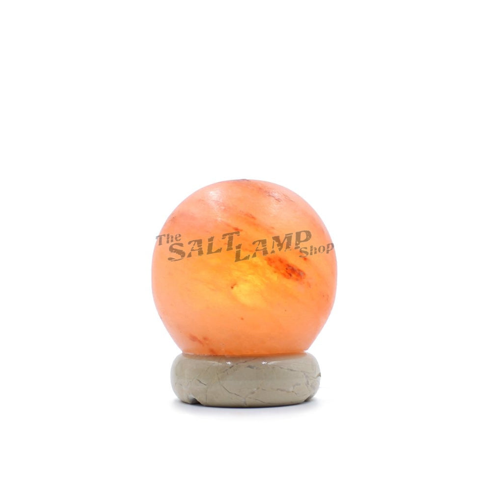 Small Sphere Salt Lamp (Off White Marble Base) Crafted