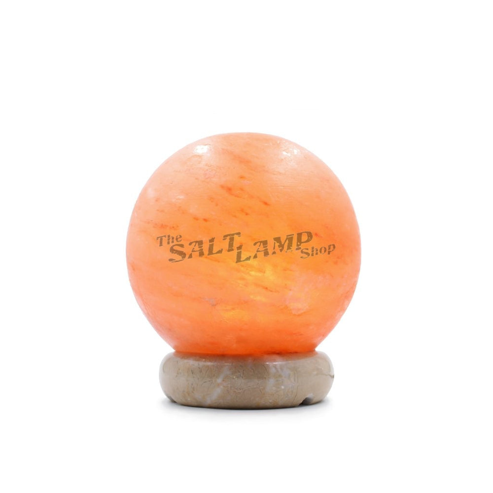 Sphere Ball Salt Lamp (Off White Marble Base) Crafted