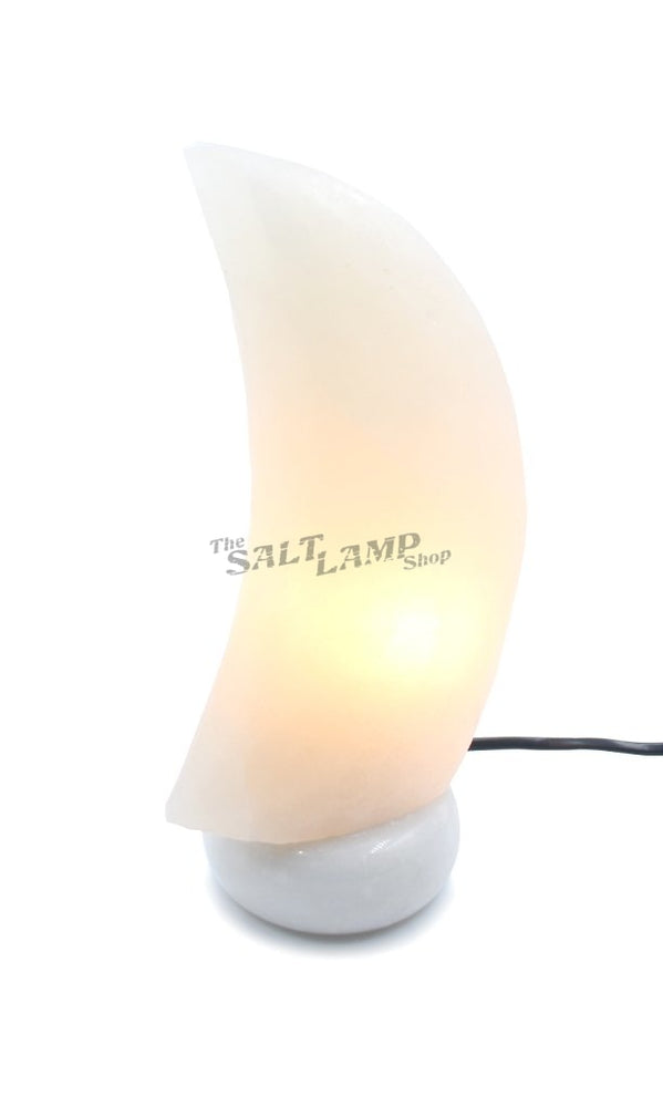 Rare White Moon Crescent Salt Lamp (Sky Blue Marble Base) Crafted