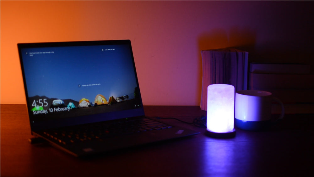 Cylinder USB Salt Lamp - Colour Changing (Timber Base)