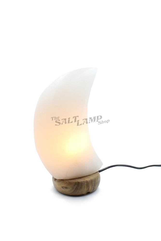 Rare White Moon Crescet Salt Lamp (Timber Base) Crafted