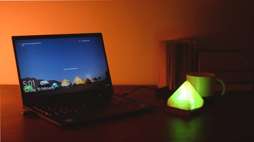 Pyramid USB Salt Lamp - Auto Colour Changing LED  (Timber Base)