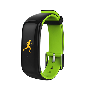 Montre connectée tactile type fit bit verte jogging
