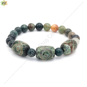 bracelet indien type yoga 3 coloris pierres