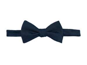 Cotton Denim Bow Tie - Black Herringbone - Self Tie - Shawn Christopher