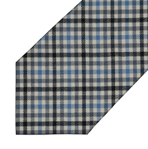 Wool - Black, Grey, Blue and Cream Gingham - 7-Fold Necktie