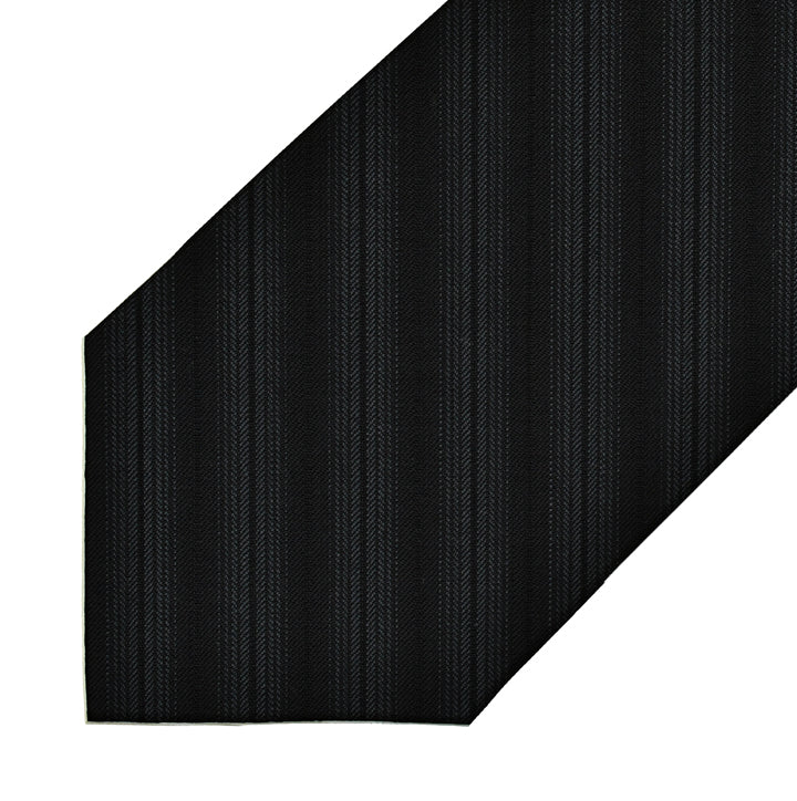 Wool - Black and Charcoal Pinstripe - 7-Fold Necktie