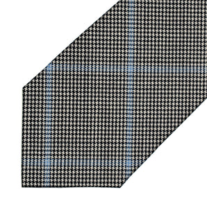 Wool - Black and White Micro Star with Blue Windowpane - 7-Fold Necktie
