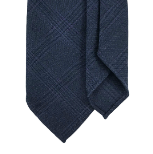 7-Fold Wool Tie - Navy and Purple Glen Plaid - Handrolled - Shawn Christopher