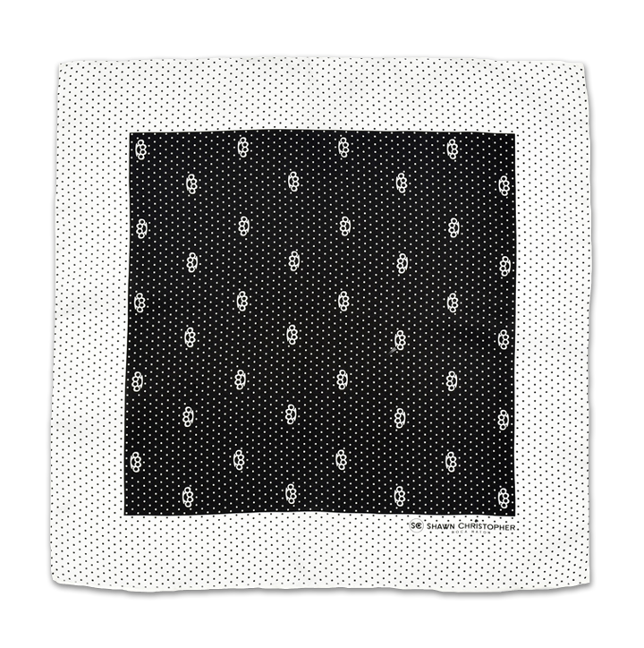 Brass Knuckles Dots Pocket Square - Black and White - Shawn Christopher