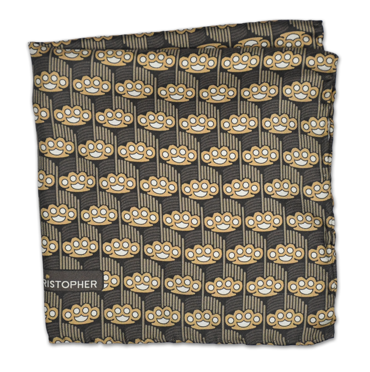 Brass Knuckles Art Deco Pocket Square - Brown - Shawn Christopher