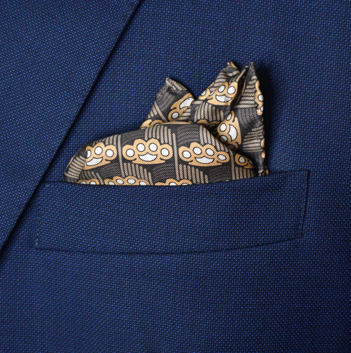 Brass Knuckles Art Deco Pocket Square - Brown