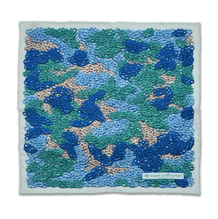 Brass Knuckles Camouflage Pocket Square - Blue and Teal - Shawn Christopher