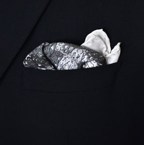 Brass Knuckles Camouflage Pocket Square - Black and White