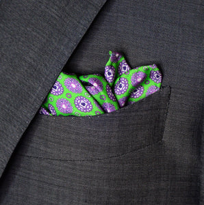 Brass Knuckles Small Circles Pocket Square - Green