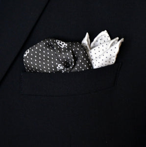 Brass Knuckles Dots Pocket Square - Black and White