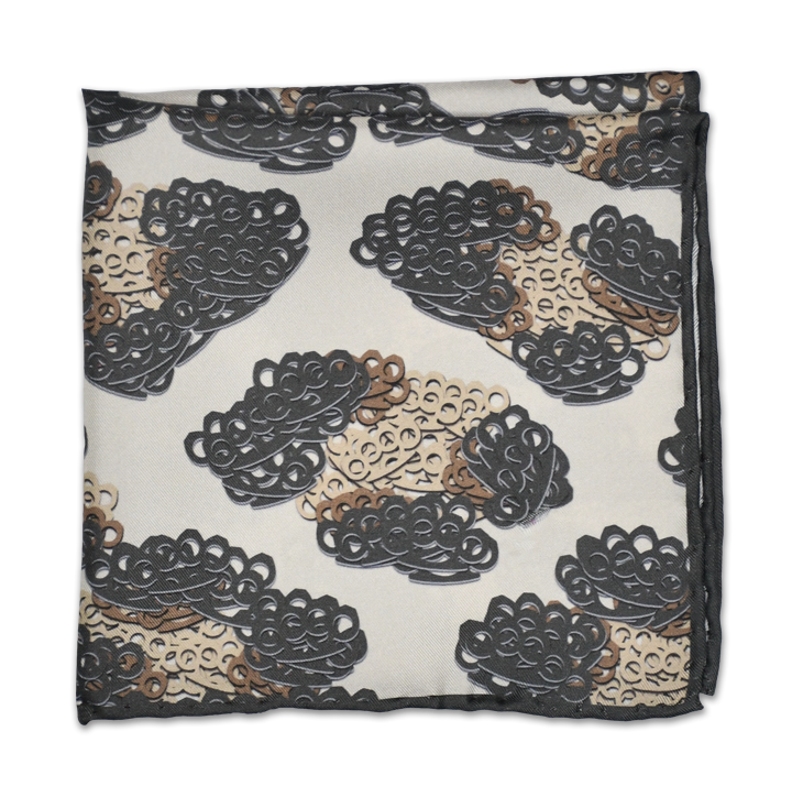 Brass Knuckles Leopard Pocket Square - Charcoal - Shawn Christopher