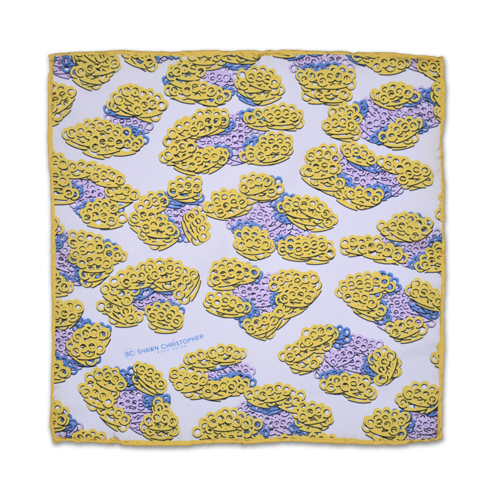 Brass Knuckles Leopard Pocket Square - Mustard - Shawn Christopher