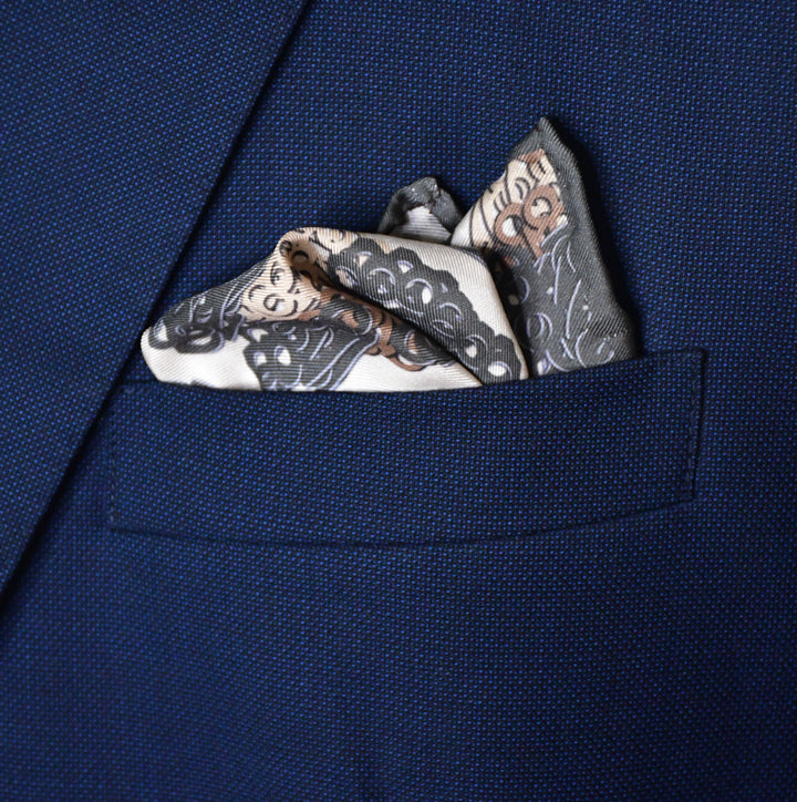 Brass Knuckles Leopard Pocket Square - Charcoal