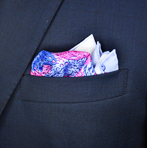 Brass Knuckles Camouflage Pocket Square - Blue and Pink - Shawn Christopher