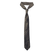 7-Fold Silk Jacquard Tie - Brown and Gold Ovals - Handrolled - Shawn Christopher