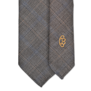 7-Fold Wool Tie - Grey and Tan Check - Handrolled - Shawn Christopher