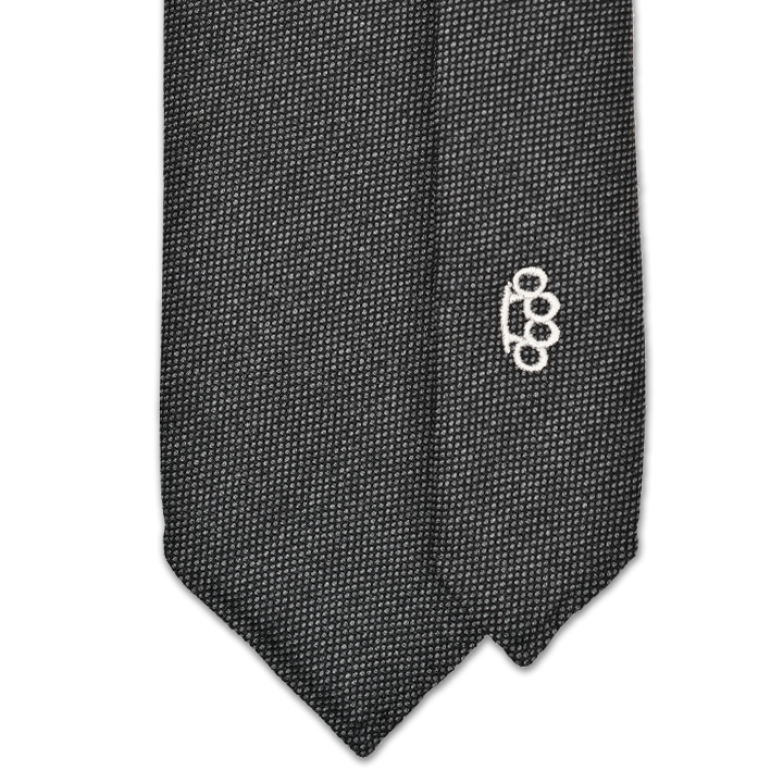 7-Fold Wool Tie - Charcoal Birdseye - Handrolled - Shawn Christopher