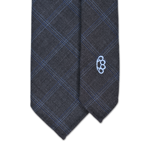 7-Fold Wool Necktie - Charcoal and Blue Windowpane