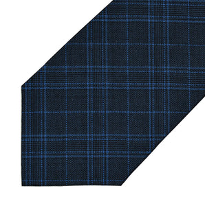 Wool - Charcoal with Blue Glen Plaid - 7-Fold Necktie