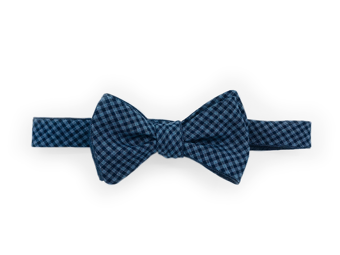 Wool Bow Tie - Double-Sided Blue Gingham - Self Tie - Shawn Christopher