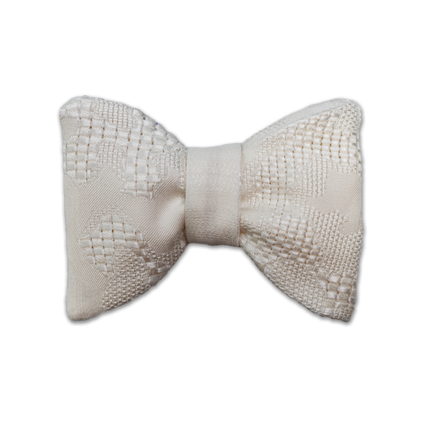 Classic Large Bow Tie - Off-White Abstract Weave Silk - Shawn Christopher