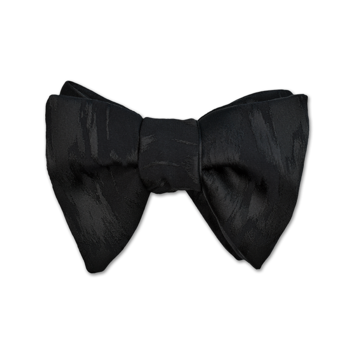 Modified Butterfly Bow Tie - Large - Black Brushed Satin-Faced Silk Jacquard - Shawn Christopher