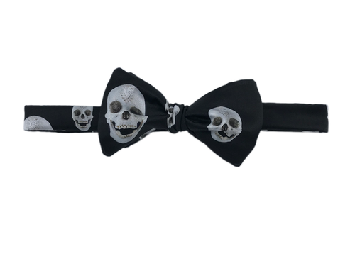 Italian Silk Bow Tie - Black with Skulls by Damien Hirst - Self Tie - Shawn Christopher