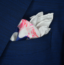 Dapper As F@ck Roses Pocket Square - White, Navy, Fuchsia - Shawn Christopher