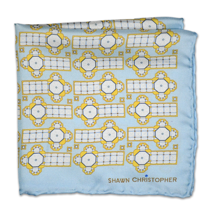 Duomo Blueprint Pocket Square - Powder Blue - Shawn Christopher