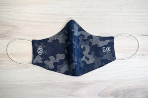 Fitted Face Mask with Filter Pocket - Blue Denim Camo with Brass Knuckles