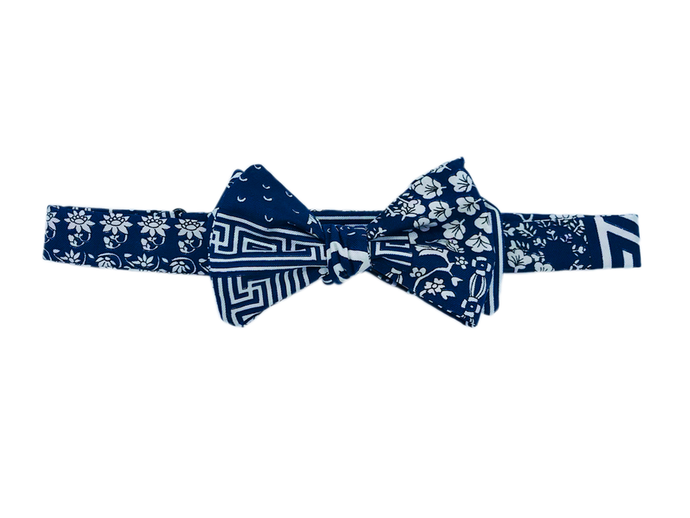 Italian Silk Bow Tie - Navy & White Greek Key with Floral - Self Tie - Shawn Christopher