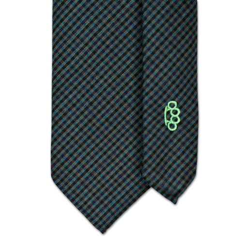 7-Fold Wool Necktie - Green and Navy Gingham