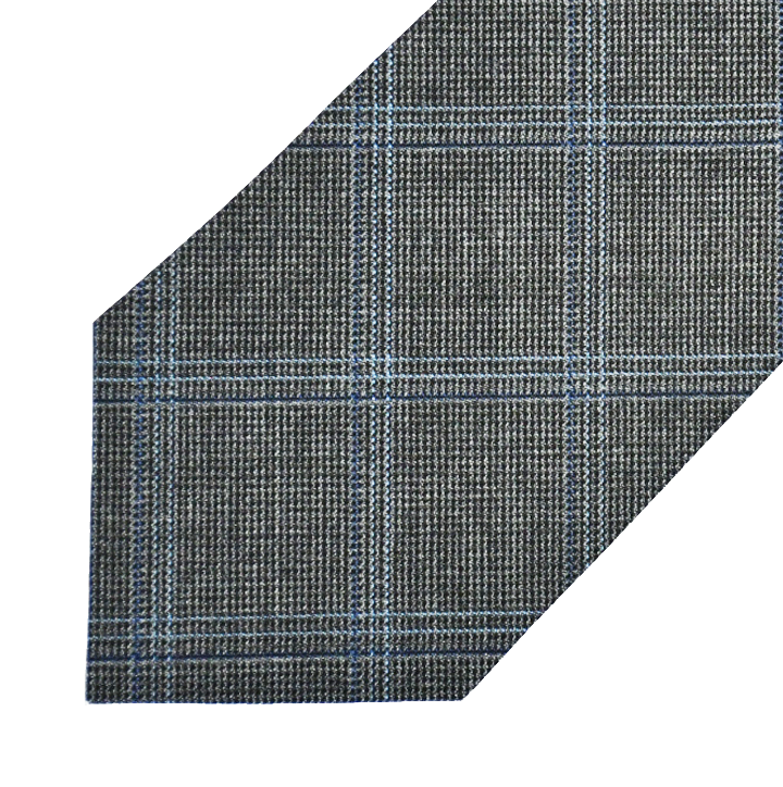 Wool Fabric - Grey with Navy/Light Blue Check* - Shawn Christopher