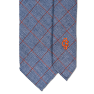 7-Fold Wool Necktie - Blue/Grey with Orange Windowpane Check